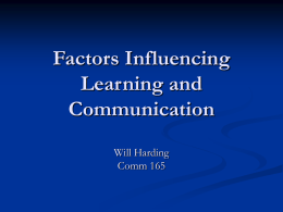 Factors Influencing learning and communication