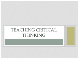Teaching Critical Thinking - University of South Florida