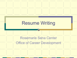 Resume Writing - Mary Baldwin College