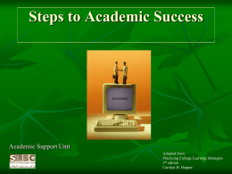 Steps to Academic Success Workshop
