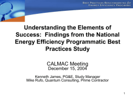 The National Energy Efficiency Programmatic Best Practices