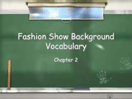 Fashion Show Background Vocabulary