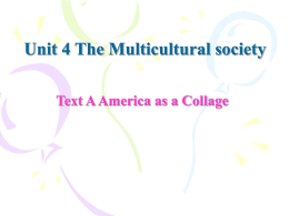 Unit 4 The Multicultural Society