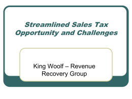 Streamlining State and Local Sales Taxes