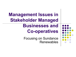Management Issues in Stakeholder Managed Businesses and Co