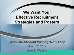 We Want You! Effective Recruitment Strategies and Posters