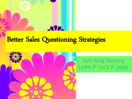Better Sales Questioning Strategies