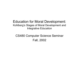 Education for Moral Development: Kohlberg's Stages of