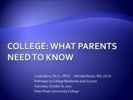 College: what parents need to know