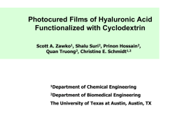 Photocured Films of Hyaluronic Acid Functionalized with