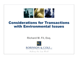 Considerations for Transactions Involving Environmentally