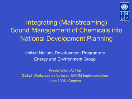 Integrating the Sound Management of Chemicals into