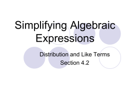 2.6 Simplifying Expressions