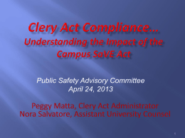 Clery Act 2008 Revisions - Cornell University Police