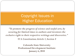 Copyright and Employment Issues in Distance Education