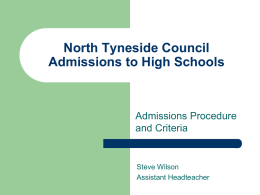 North Tyneside Council Admissions to High Schools