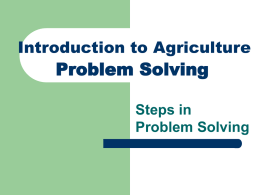 Problem Solving - Louisiana Association of FFA