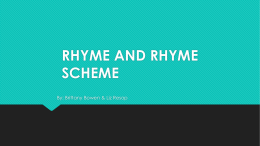 RHYME AND RHYME SCHEME - Washington Middle School