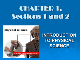 CHAPTER 1 – INTRODUCTION TO PHYSICAL SCIENCE