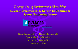 Upper Extremity Overuse Injuries in Swimming