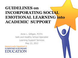 Guidelines for Incorporating Social Emotional Learning