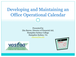 Developing and Maintaining an Office Operational Calendar