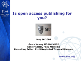 PLoS, open access, new journals