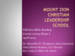 Mount Zion Christian Leadership School