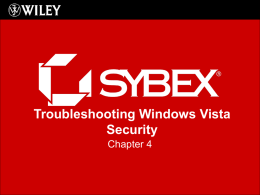 Troubleshooting Windows Vista Security