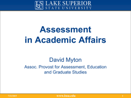 Assessment in Academic Affairs