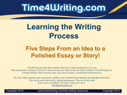 Learning the Writing Process