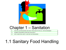 Chapter 1 – Sanitation