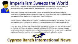 Imperialism Sweeps the World