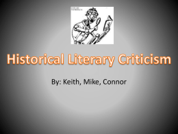 Historical Literary Criticism