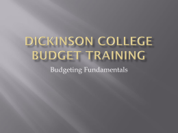 Dickinson Budget training