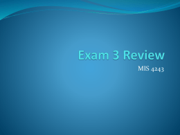 Exam 1 Review - University of Tulsa
