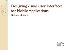 Designing Visual User Interfaces for Mobile Applications