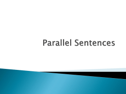 Parallel Sentences - Radnor Township School District