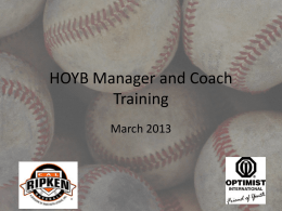 HOYB Manager and Coach Training