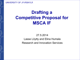 Drafting a Competitive Proposal for MSCA IF