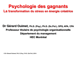 Psychologie des gagnants la transformation du stress en énergie