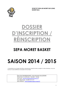 Inscription 2014-2015 - basket moret-sur