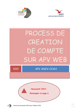 PROCESS DE CREATION DE COMPTE sur apv web