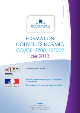 FORMATION NOUVELLES NORMES ISO/CEI 27001