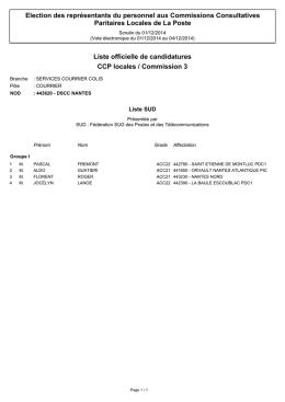 CCP locales / Commission 3 Liste officielle de