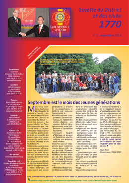 Gazette n° 2 - septembre 2014 - Rotary International District 1770