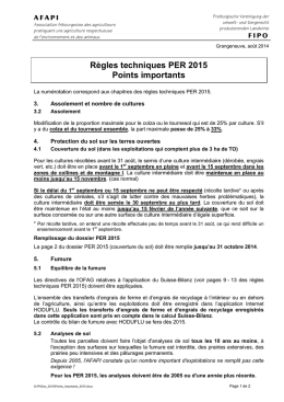 Règles techniques PER 2015 Points importants - afapi