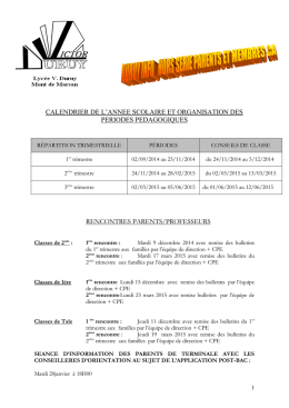 Calendrier 2014/2015 - Lycée Victor Duruy