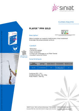 fiche technique : Plafer PPM Gold