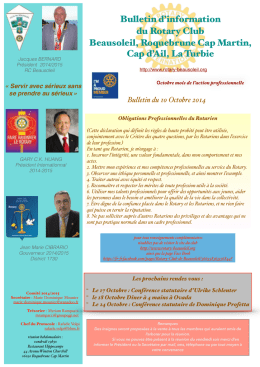 Bulletin du 10 Octobre 2014 - Rotary Club de Beausoleil